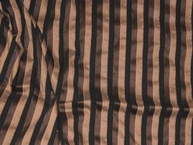 Тафта стрейч полоска коричнево-черный